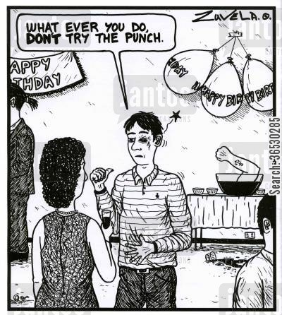 thumps cartoon humor: 'What ever you do, DON'T try the punch.'