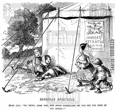 marquee cartoon humor: Children peeking inder a circus tent to see a horse show