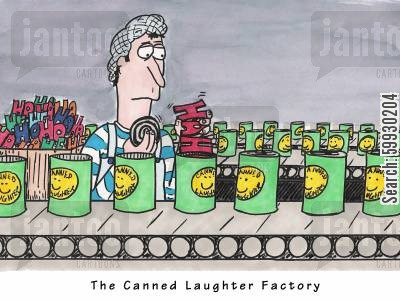 good job cartoon humor: Working at the Canned Laughter Factory.