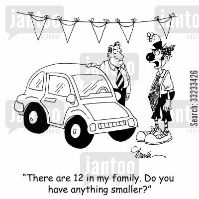 big family cartoon humor: 'There are 12 in my family. Do you have anything smaller?'