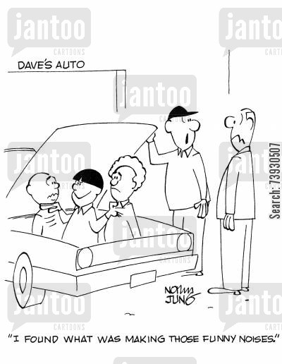 car garages cartoon humor: 'I found what was making those funny noises.'