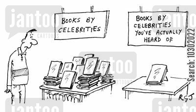 rising stars cartoon humor: 'Books by celebrities.'