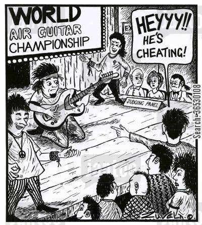 air guitarist cartoon humor: 'HEYYY!! He's cheating!'