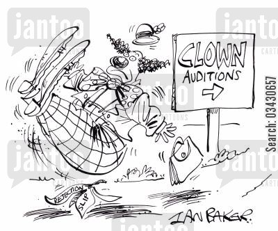 banana skins cartoon humor: Clown Auditions.
