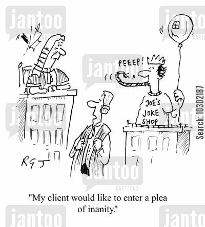inane cartoon humor: 'My client would like to enter a plea of inanity.'