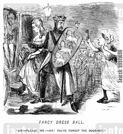 bathos cartoon humor: Servant running after a couple dressed up for a fancy ball with the door-key