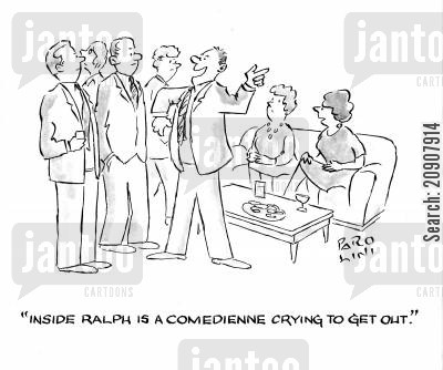 comedienne cartoon humor: 'Inside Ralph is a comedienne crying to get out.'