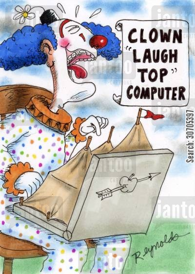 circus tent cartoon humor: Clown 'Laugh Top' Computer.