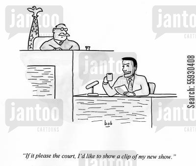 opportunism cartoon humor: Talk show host in court says to judge 'If it please the court, I'd like to show a clip of my new show.'