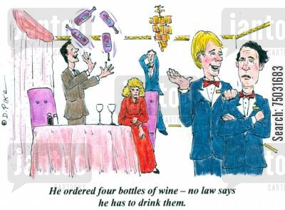 juggle cartoon humor: 'He ordered four bottles of wine -- no law says he has to drink them.'