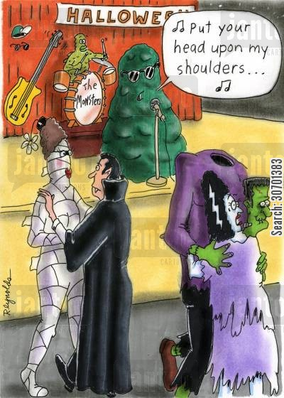 ballroom dance cartoon humor: 'Put your head upon my shoulders...'
