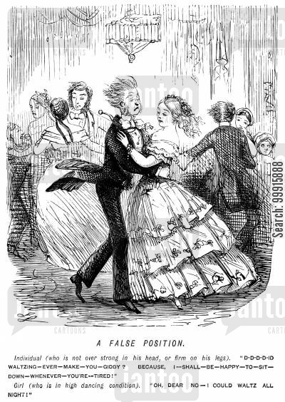 waltzes cartoon humor: Man, tired from dancing, asking girl if she wants to sit down