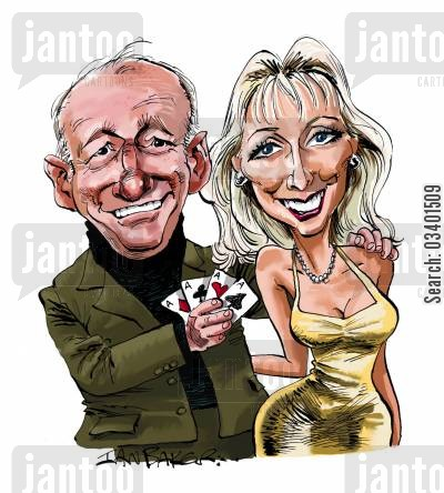 card tricks cartoon humor: Paul and Debbie.