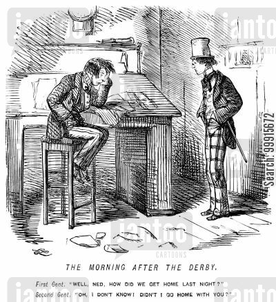 the derby cartoon humor: Man struggling to remember how he got home the morning after the derby