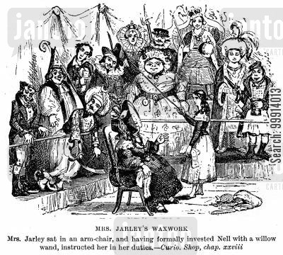 the old curiosity shop cartoon humor: Mrs. Jarley's waxwork