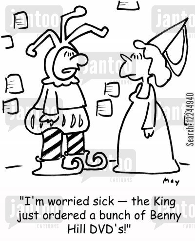 comedy dvd cartoon humor: 'I'm worried sick -- the King just ordered a bunch of Benny Hill DVD's!'