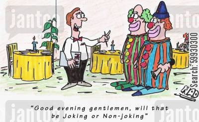 non-smoking section cartoon humor: Good evening Gentlemen, will that be joking or non-joking?'