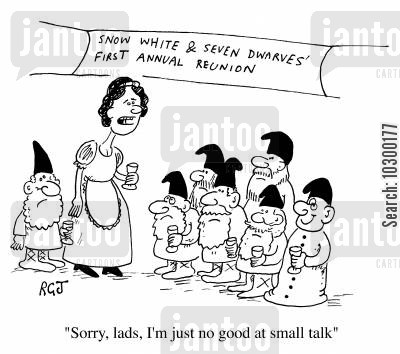 making conversation cartoon humor: I'm no good at small talk