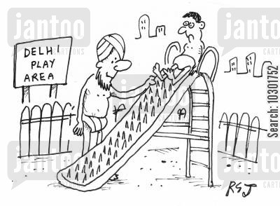 play areas cartoon humor: 'Delhi play area.'