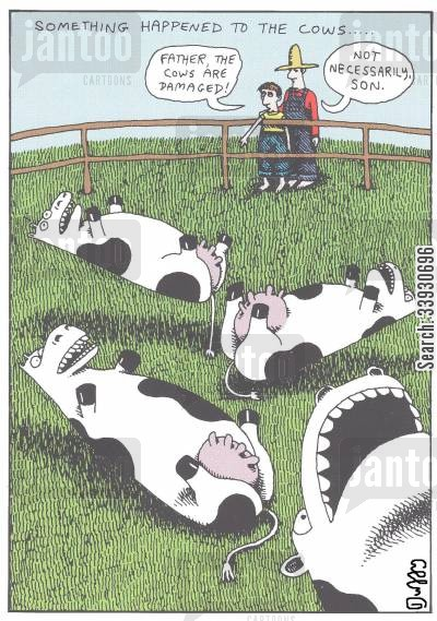 father and son cartoon humor: Something happened to the cows...
