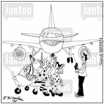 model plan cartoon humor: Lots of clowns at an airport climb out of a model airplane.