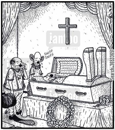 open caskets cartoon humor: Special coffins for Clowns to cater for their big shoes.