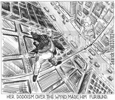 tightrope cartoon humor: 'Her dodoism over the wynd made him furibund.'