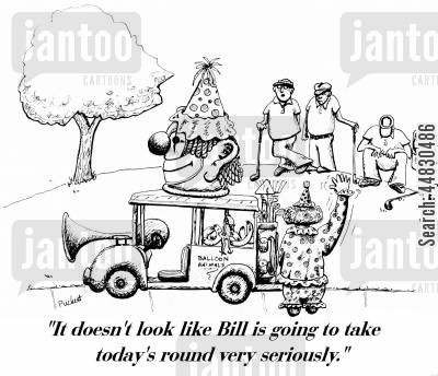 golf cart cartoon humor: 'It doesn't look like Bill is going to take today's round very seriously.'