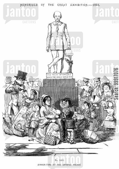 picnicking cartoon humor: Memorials of The Great Exhibition - 1851. No. XXV - Dinner time at the Crystal Palace