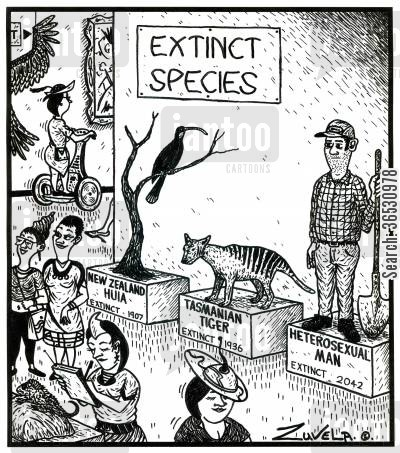 survival of the fittest cartoon humor: Extinct Species Heterosexual man,extinct 2042.