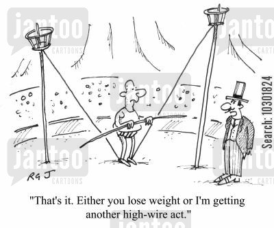 tightrope walkers cartoon humor: 'That's it. Either you lose weight or I'm getting another high-wire act.'