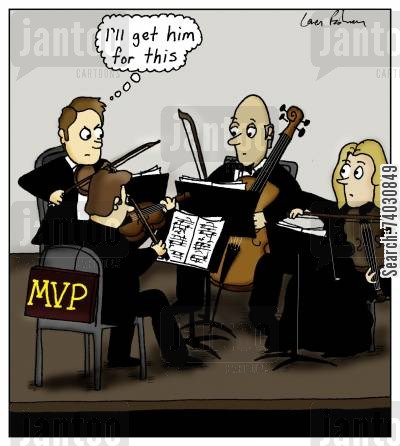 classical cartoon humor: First violinist has an 'MVP' sign on his chair