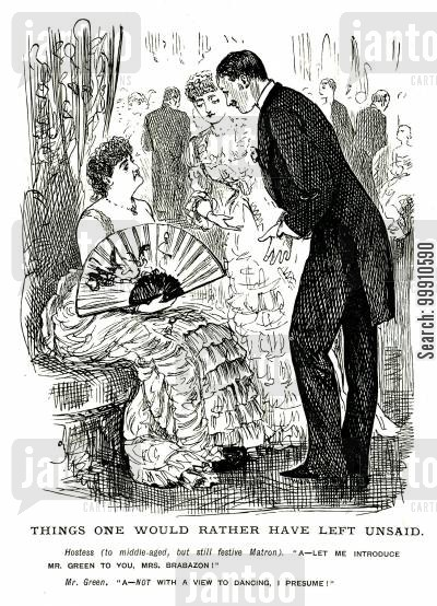 hostess cartoon humor: Man introduced to a lady at a party