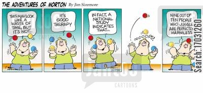 morton cartoon humor: The Adventures of Morton - Harmless juggler.