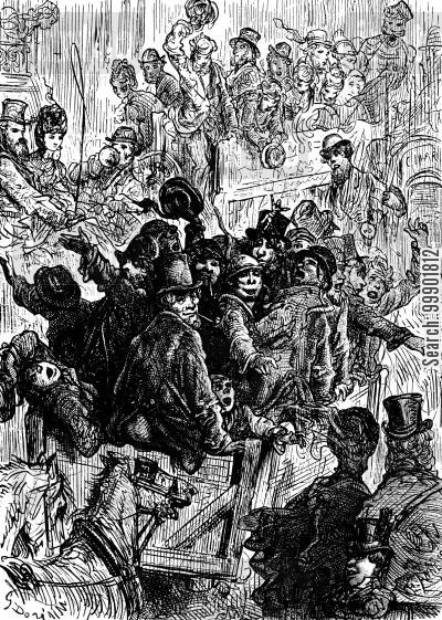 victorian working classes cartoon humor: Cartload of Boisterous Cockneys Tipping a Gentleman's Hat