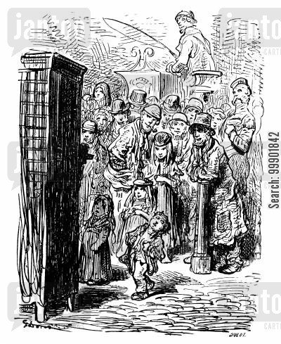 puppets cartoon humor: Punch and Judy Show in East End Slums