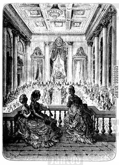 holland house cartoon humor: Women watch a Men-Only Dinner in Greenwich