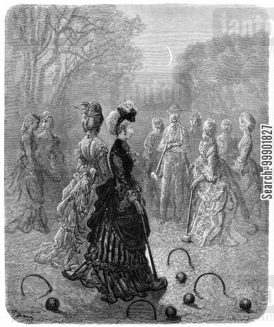croquet match cartoon humor: Ladies Playing Croquet