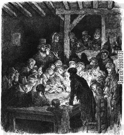 victorian slum cartoon humor: Card Playing Scene