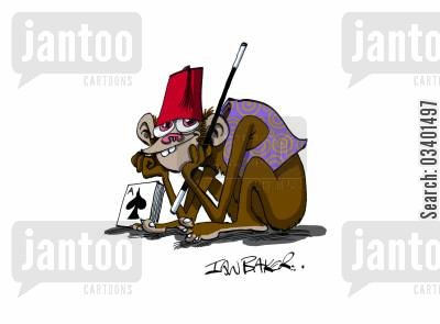 animal performer cartoon humor: Magicians monkey.