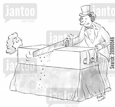 earmuffs cartoon humor: Magician sawing a woman in half.