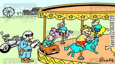 traffic wardens cartoon humor: Traffic polieceman at a carousel.