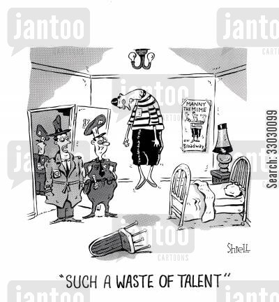 skid row cartoon humor: Hanging Mime - Such a waste of talent.