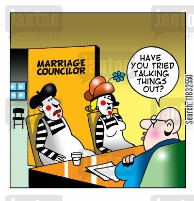 marriage councilor cartoon humor: Mime marriage.