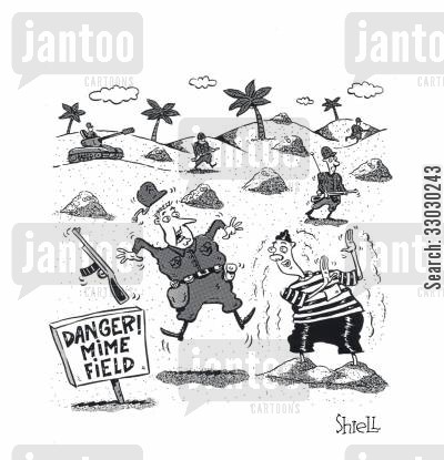 miming cartoon humor: Danger - Mime Field.