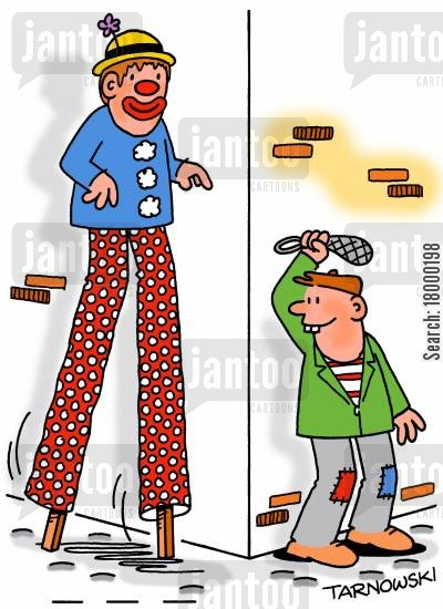 stilts cartoon humor: Mugger about to attack a clown.