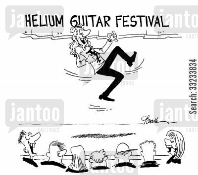 air guitarist cartoon humor: Helium Guitar Festival