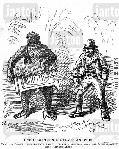 street performer cartoon humor: Organ grinder and monkey having swapped roles