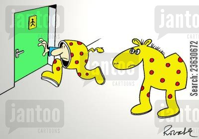 pantomimes cartoon humor: Half of a pantomime horse going to the bathroom.