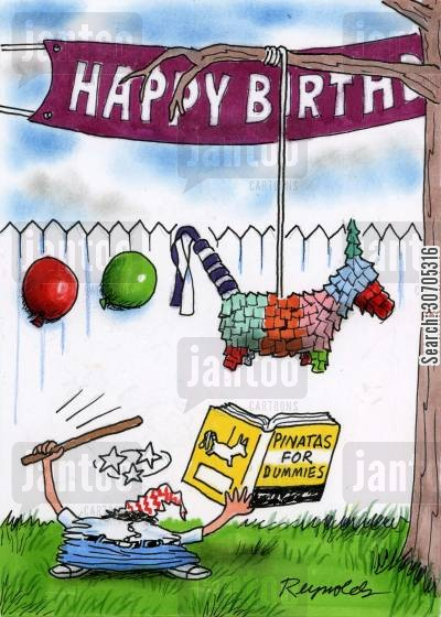 buffoon cartoon humor: 'Pinatas for Dummies.'
